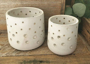 Set of two Candle Holders - Chalk Glaze