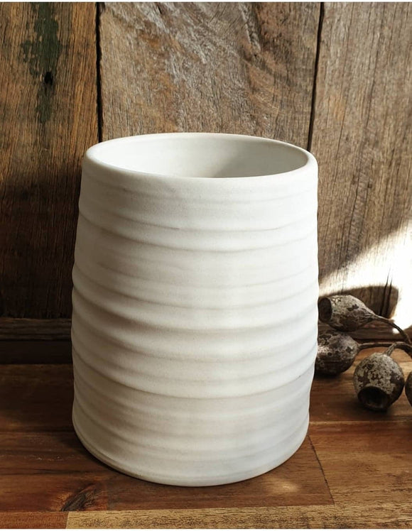 Ribbed Silo Vase - Chalk