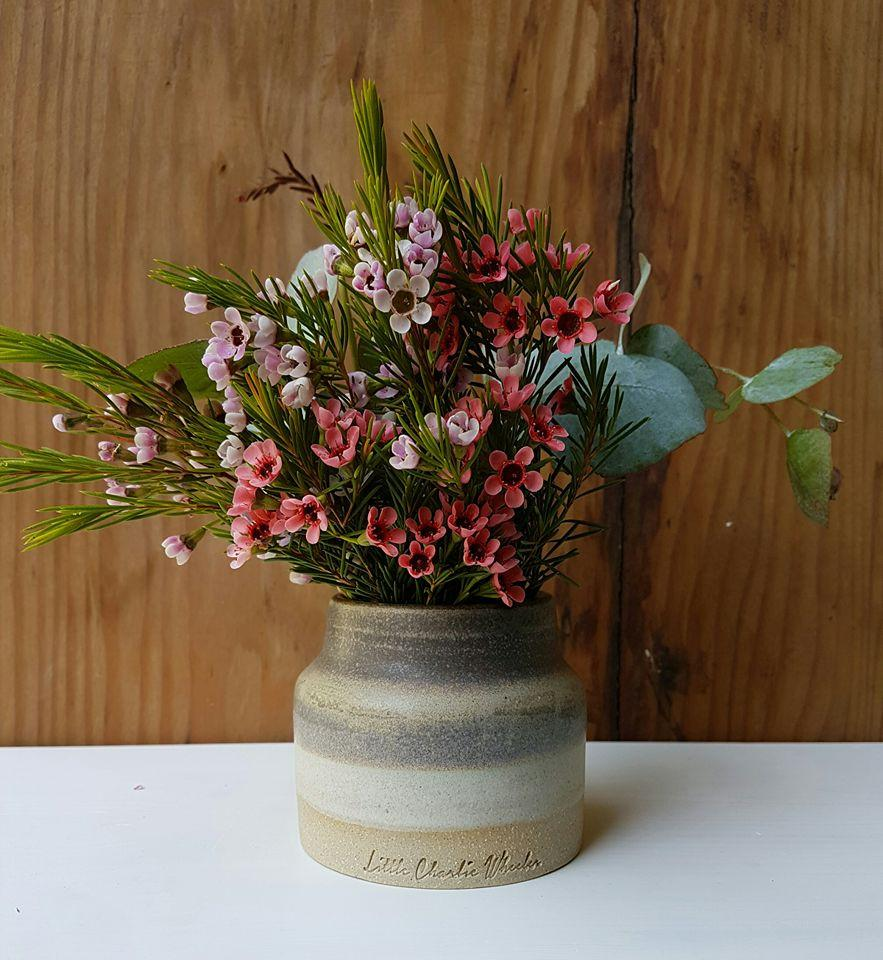 Multi-toned rustic squat vase