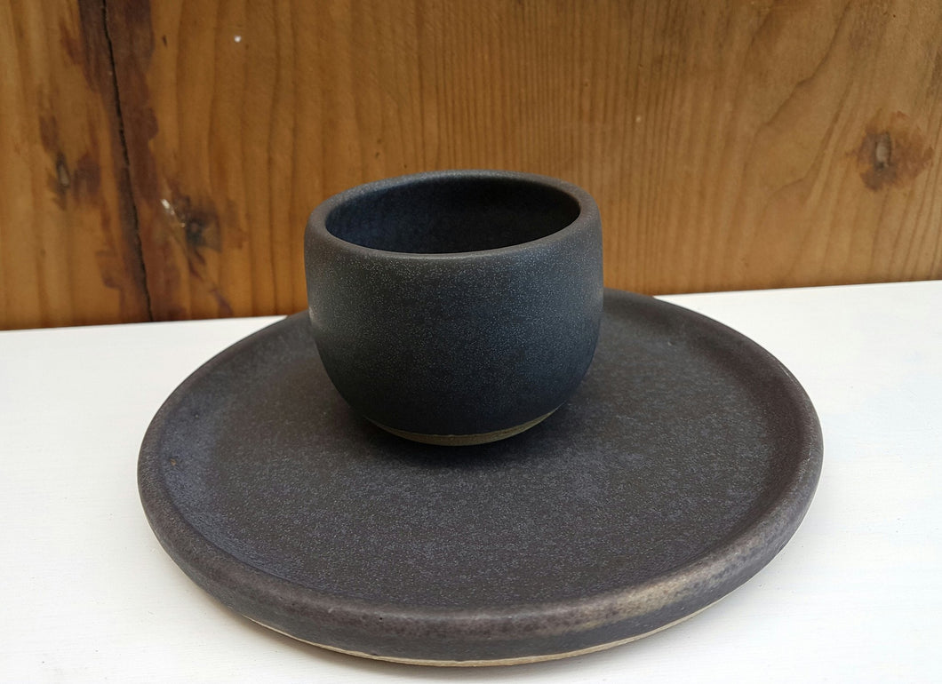 Basalt teacup and saucer set