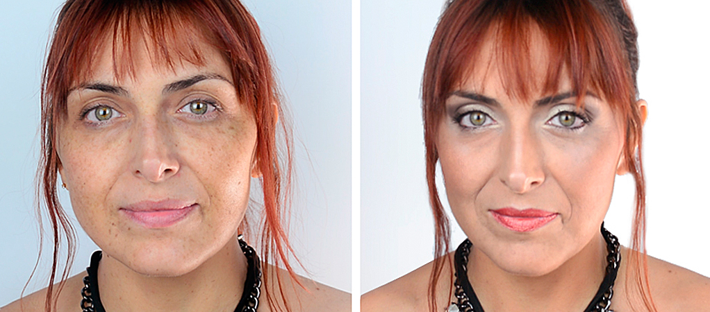 Maquillaje Time Control antes y despues