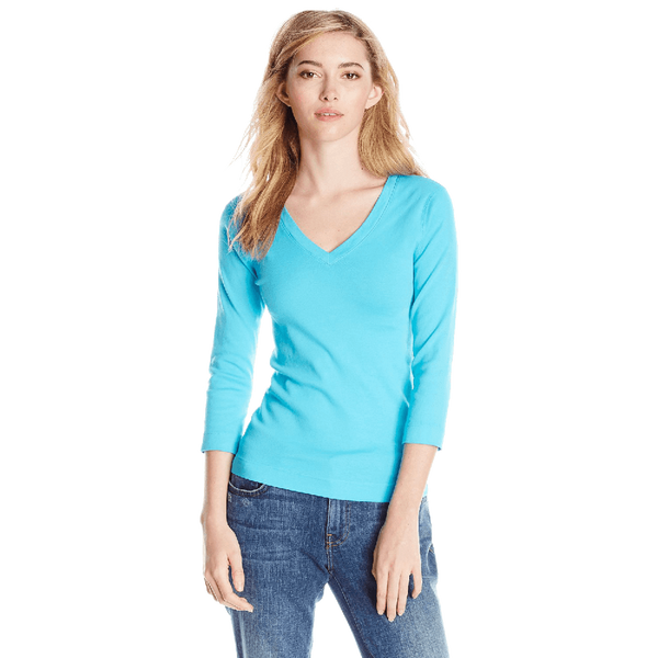Three Dots Women's 3i4 Sleeve V Neck