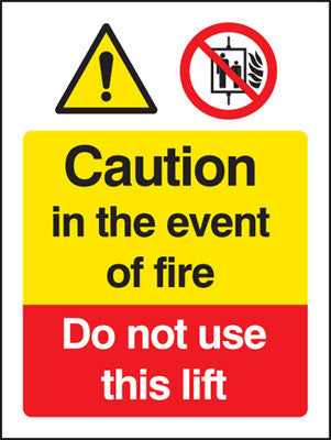 Caution in the event of fire - do not use this lift sign