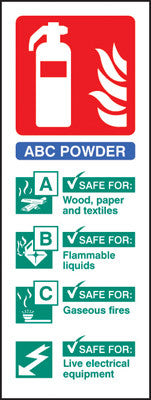 Dry powder fire extinguisher identification sign