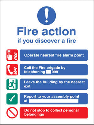 Fire action manual dial without lift sign