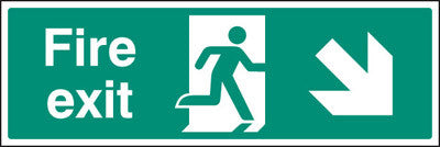 Fire exit - down and right sign