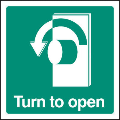 Fire exit - Turn to open - left sign