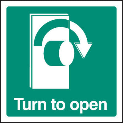 Fire exit - Turn to open - right sign