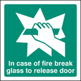 Break glass to release door sign