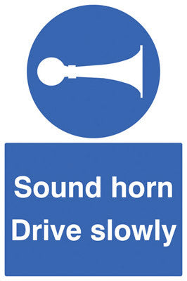 Sound horn drive slowly sign
