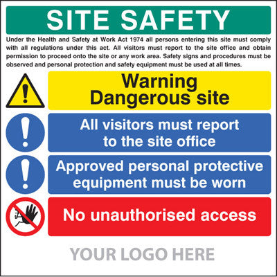 Site safety board - dangerous site, visitors, PPE, access, site saver sign