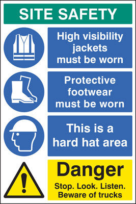 Site safety board danger sign