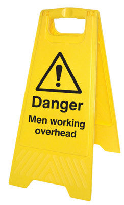 Danger men working overhead free-standing floor sign