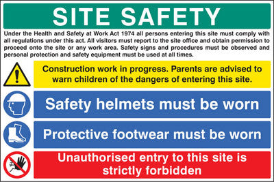Site safety - H&S act sign