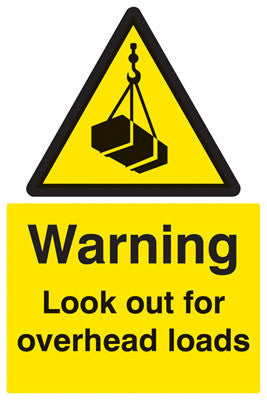 Warning look out for overhead loads sign