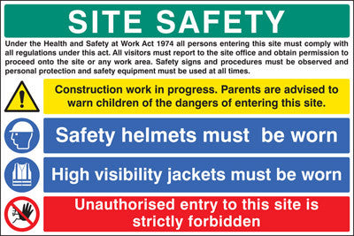 Site safety - construction work in progress sign