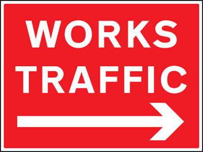 Works traffic right arrow sign