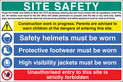 Site safety sign - hard hat, vest and boots