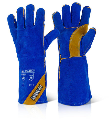 B-Flex Cat II Blue Gold Welders Gauntlets