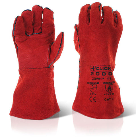 Click 2000 Cat II Red Welders Gauntlets with Reinforced Palm