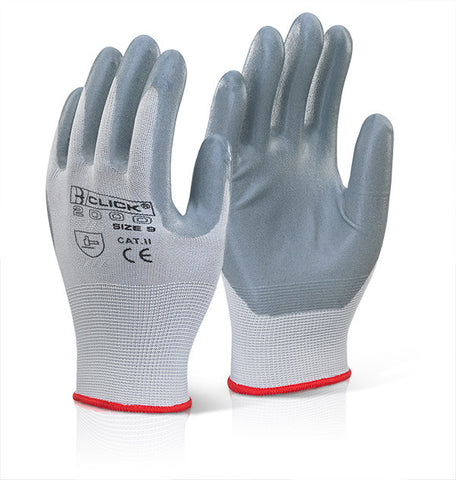 Click 2000 Nitrile Foam Poly Gloves Grey