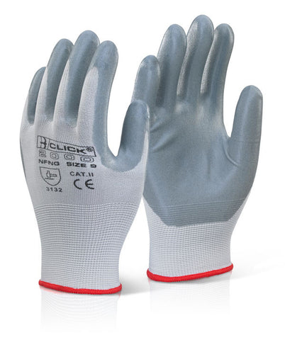 Click 2000 Nitrile Foam Nylon Gloves Grey