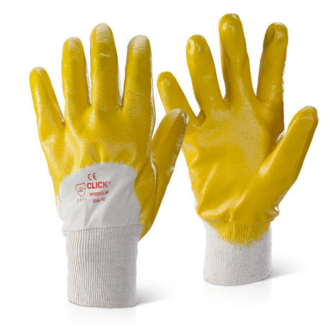 Click 2000 Knitwrist Lightweight Palm Coated Gloves Yellow
