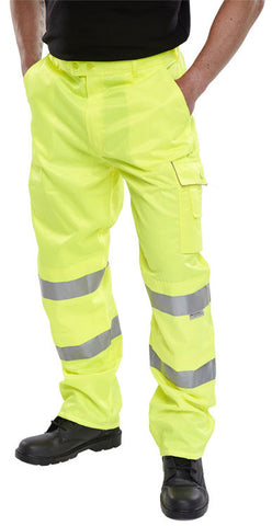 B-Seen Hi Vis Polycotton Saturn Yellow Work Trousers