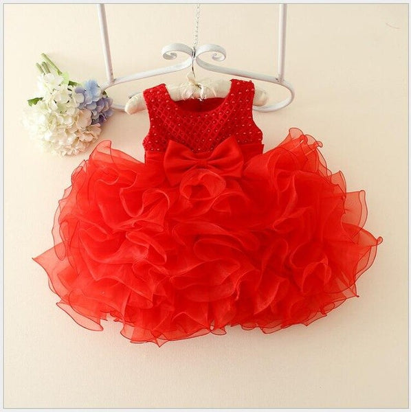 Beads Baptism Ball Gown - Cotton Castles Luxury  Diaper Cakes