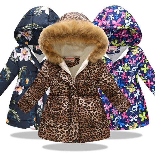 Winter Baby Girls Cartoon Printed long Jacket - Cotton Castles Luxury  Diaper Cakes