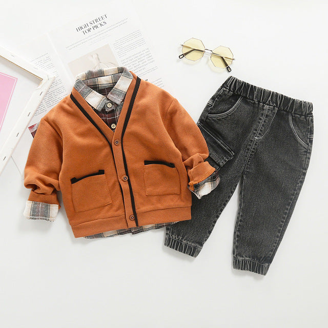 Winter Long Sleeve Cardigan+Plaid shirt+Pants 3pcs Outfit - Cotton Castles Luxury  Diaper Cakes