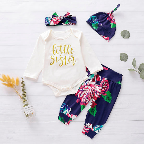Girls Letter Print Romper+ Pants Hat+Hairband Outfit - Cotton Castles Luxury  Diaper Cakes