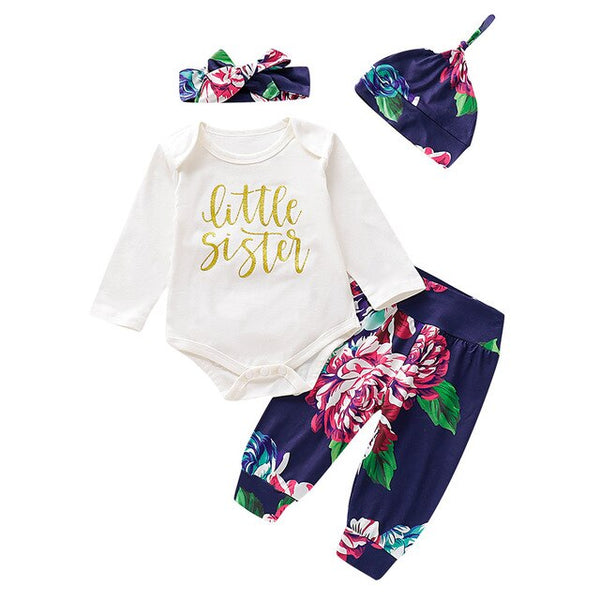 Flowers Romper+ Pants Hat+Hairband Outfit - Cotton Castles Luxury  Diaper Cakes