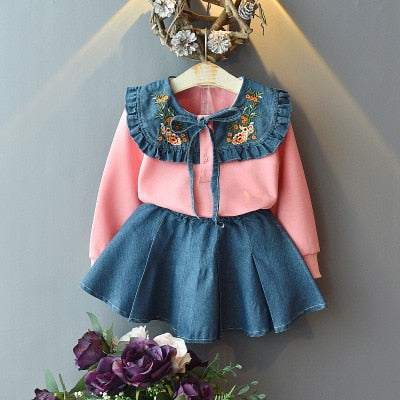 Denim Embroidery Sweatshirt+Skirt 2pcs - Cotton Castles Luxury  Diaper Cakes