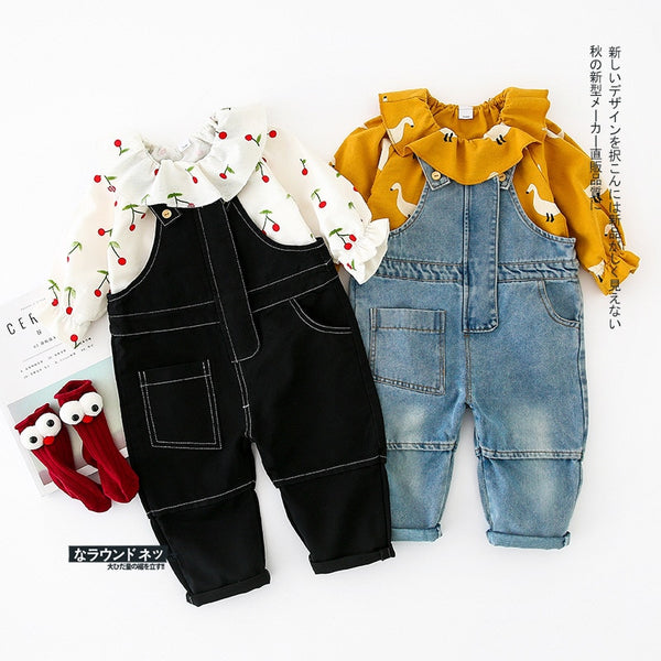 Cute Girls Denim Overalls - Cotton Castles Luxury  Diaper Cakes