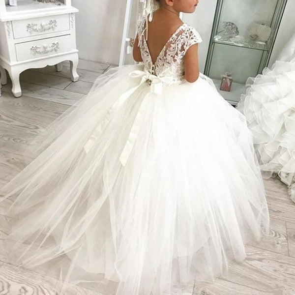 Lace Ball Gown Bling Beaded Flower Girl Dress