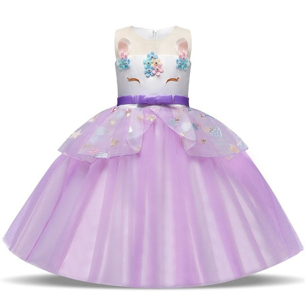 Unicorn Party Dress With Long Train
