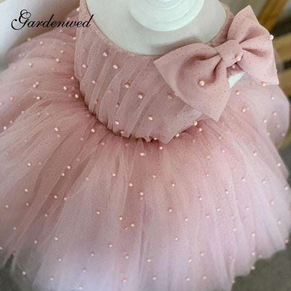 Pearls Sequin Pink Princess Flower Girl Dress