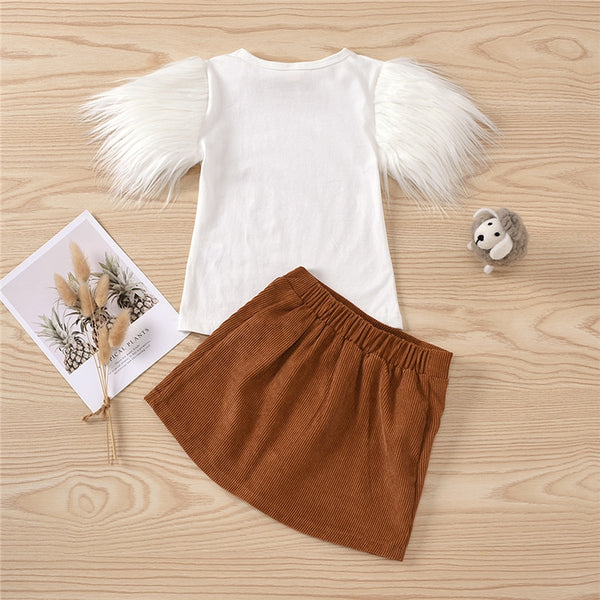 2PCS Feather Sleeve Top + Brown Skirt Sets