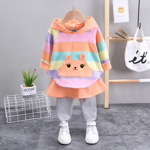 Hooded Color Striped Sweater Suits