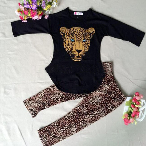 T-Shirt Leopard Legging Set - Cotton Castles Luxury  Diaper Cakes