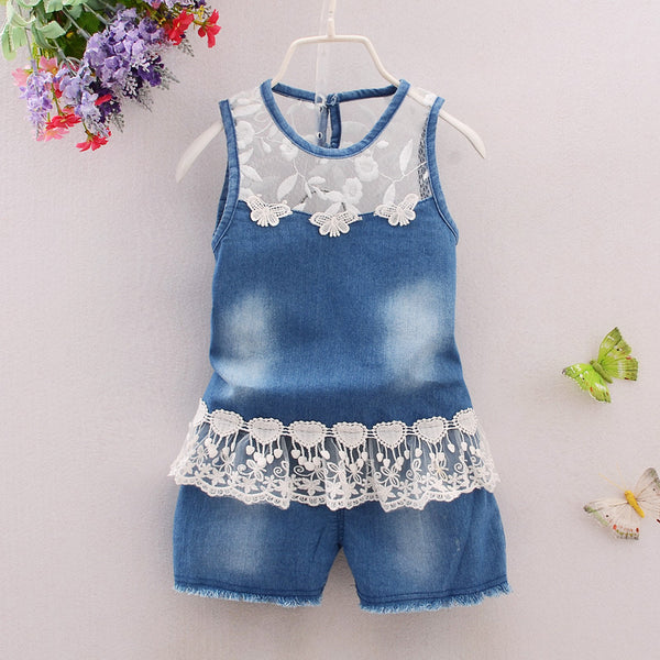 Toddler Denim Floral Jumpsuit - Cotton Castles Luxury  Diaper Cakes
