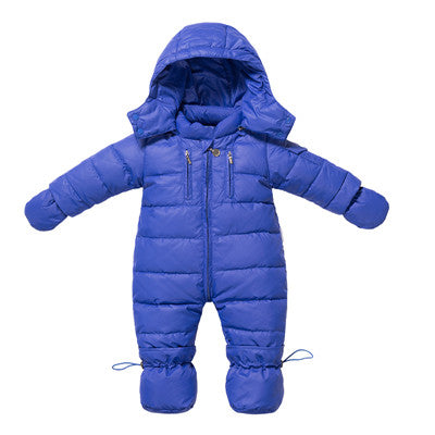 Winter Duck Down Warm Hooded Snowsuit - Cotton Castles Luxury  Diaper Cakes