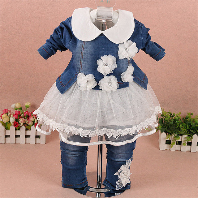 Denim Jacket+t-shirt+Pants 3pcs Suits - Cotton Castles Luxury  Diaper Cakes