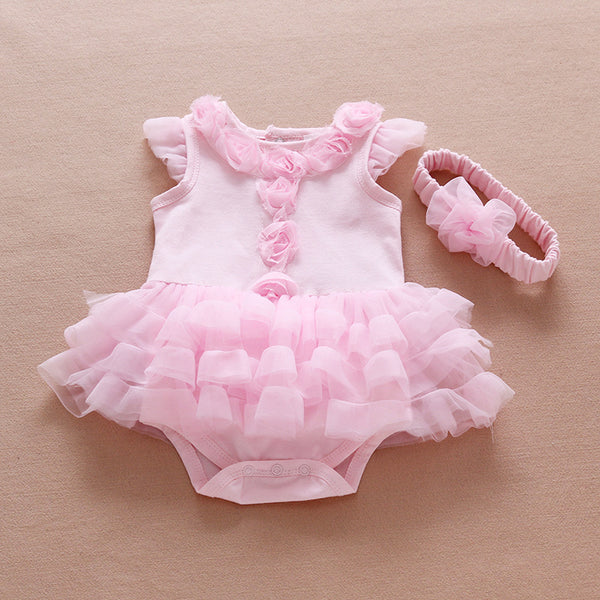 Ruffle Infant Flowers Romper Set - Cotton Castles Luxury  Diaper Cakes