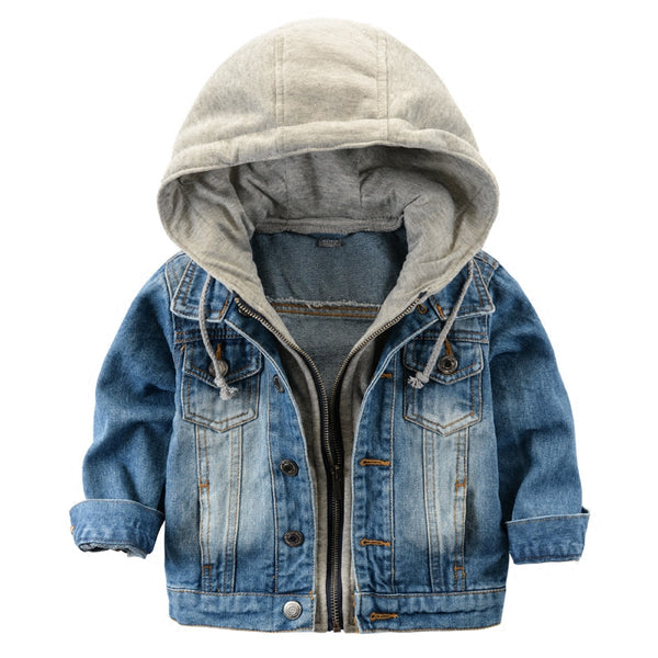 Fashion Denim Hooded Jacket - Cotton Castles Luxury  Diaper Cakes