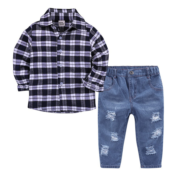 Little Boys Plaid Blouse + Jeans Set - Cotton Castles Luxury  Diaper Cakes