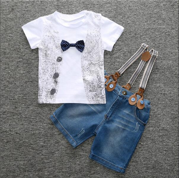 Little Guy Bow Tie T-shirt+Denim Shorts Set - Cotton Castles Luxury  Diaper Cakes