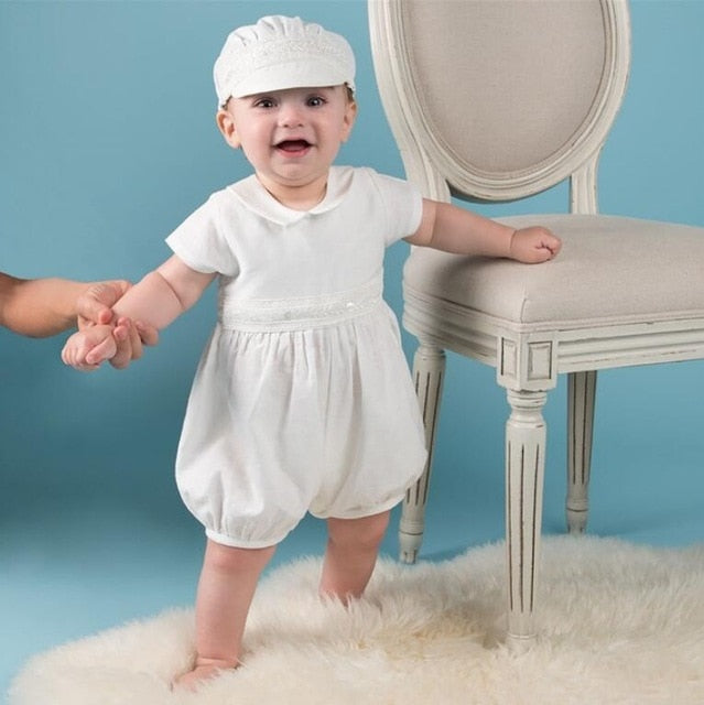 Vintage Baby Boy Christening Outfit With Hat - Cotton Castles Luxury  Diaper Cakes