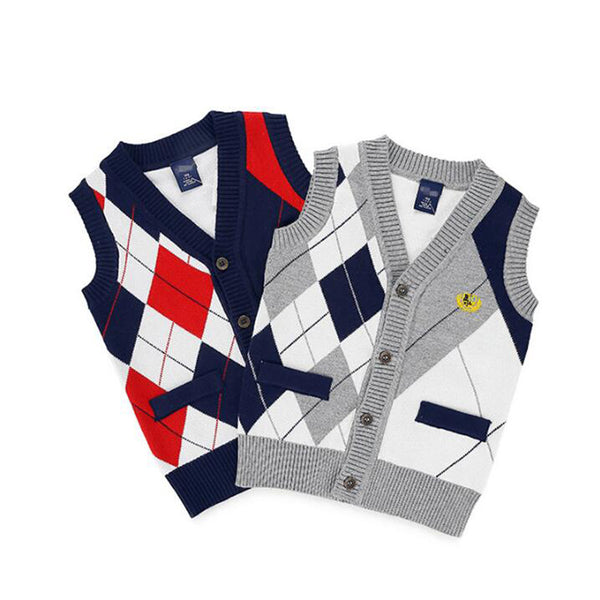Sweater Vest Plaid Cardigan - Cotton Castles Luxury  Diaper Cakes